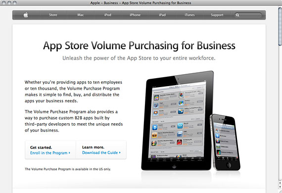 「App Store Volume Purchase Program for Business」のWebサイト